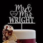 Custom Wedding Cake Topper, Custom Calligraphy Personalized Cake Topper for Wedding, Custom Personalized Wedding Cake Topper Mr & Mrs Wright