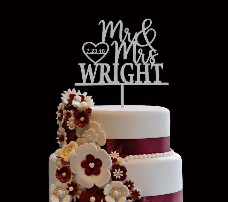 Custom Wedding Cake Topper Custom Calligraphy Personalized image 0
