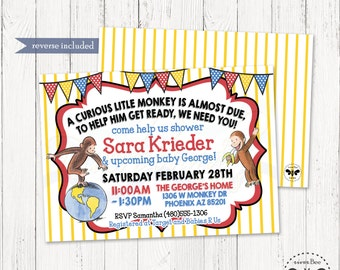 Curious george baby shower invitations with matching envelopes etsy curious george baby shower invitation printable digital storybook monkey baby shower invite filmwisefo