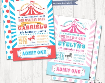 Carnival Ticket Birthday Invitation 5x7 Or 4x6 Printable Digital Circus Party Invites With Admit One Stub