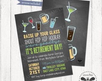 retirement party chalkboard invitation printable digital hip hip hooray farewell retirement invitation