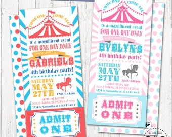 Carnival Ticket Birthday Invitation Printable Digital Long Circus Party Invites With Admit One Stub