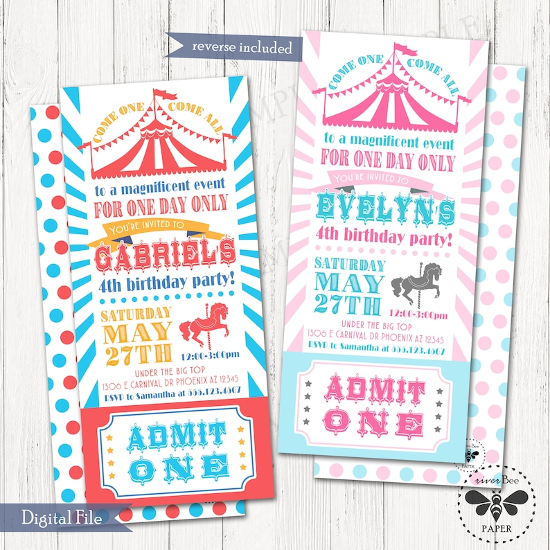 Carnival Ticket Birthday Invitation Printable Digital Long