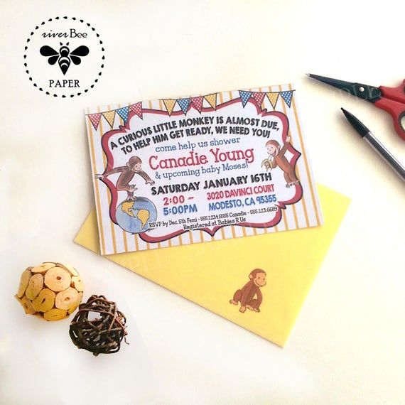 Curious george baby shower invitations with matching envelopes etsy image 0 filmwisefo