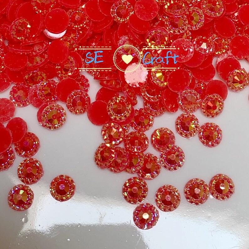 2001000PCS  4 5 6mm AB Red Round Sunflower Crystal Halo Flatback Rhinestone BlingGems Resin Acrylic Flatback Deco Nail Art Craft