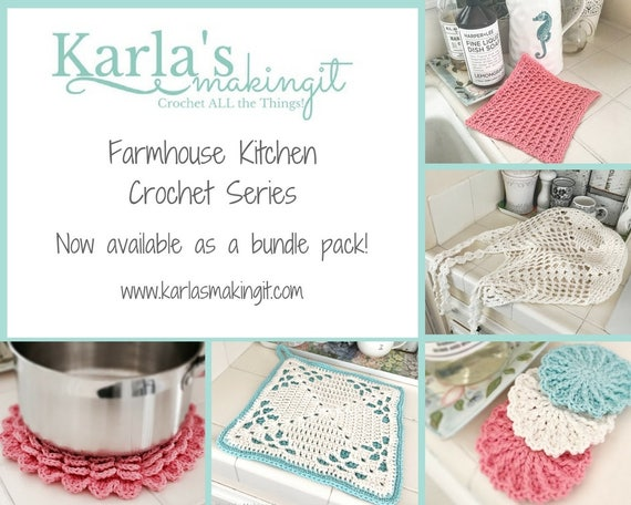 Farmhouse Kitchen Crochet Patterns, flower trivet, potholder, Scrubbies, market bag, washcloth, dishcloth, shabby chic, digital download