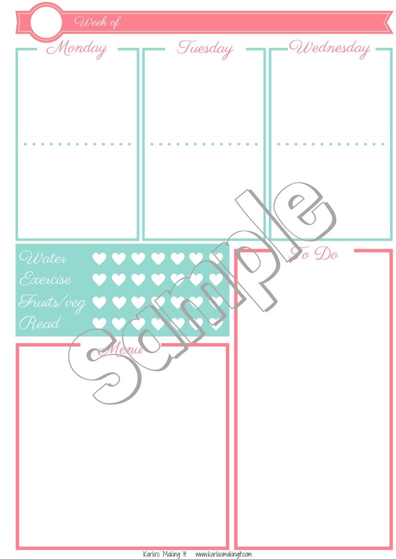 A4 size Weekly Layout on 2 Pages - Bullet Journal Printable Template