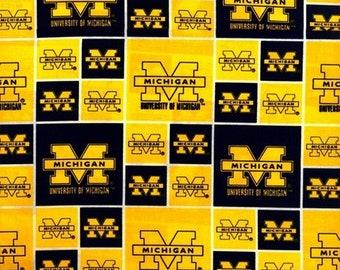 University of Michigan Wolverines Fabric 100% Cotton