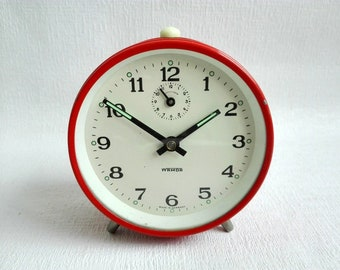 Vintage Orange  Alarm Clock, Mechanical Clock,Metal, Manual Winding, Made in Germany by WAMDA, German Vintage,1970's
