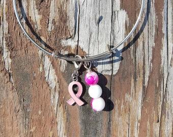 Breast Cancer Awareness Bracelet/Adjustable Bangle/ Pink Ribbon Bangle/ Awareness Ribbon