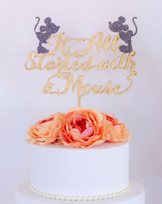 Wedding Cake Topper It All Started With A Mouse Mickey And Minnie Disney Inspired