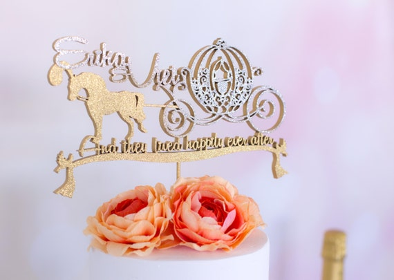 Disney Wedding Cake Topper Cinderella Horse Carriage Custom Names Fairy Tale Series And They Lived Happily Ever After Disney Inspired