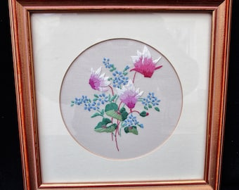 Vintage Framed Embroidered Picture. Embroidered Flowers