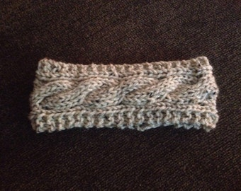 Cabled earwarmer, cabled headband, hand knit headband, knit ear warmer, wool earwarmer