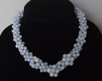 Blue lace agate beaded necklace