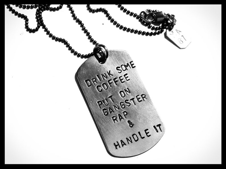 Handmade hand stamped dog army tag quote necklace unique inspirational words of wosdom