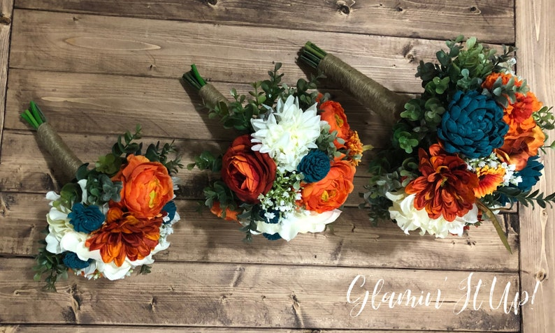 Sola and artificial flowers Dark Teal and Orange Boho Bouquet Boutonni\u00e8re Hair Comb and Corsage