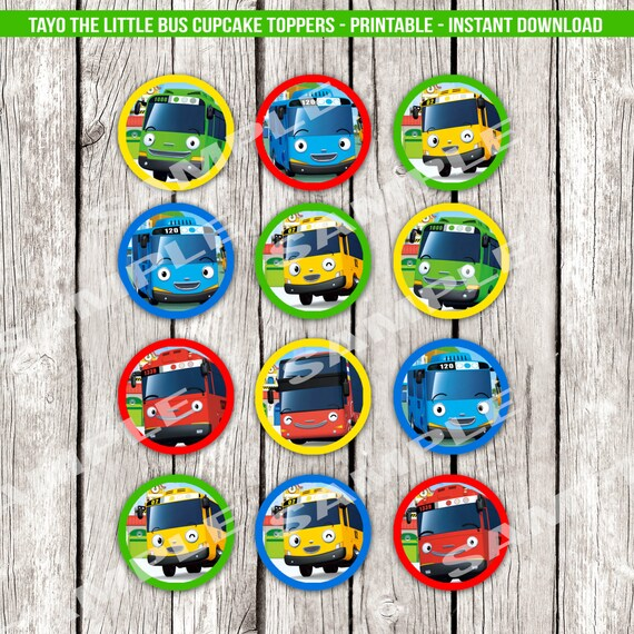 Tayo The Little Bus Cupcake Toppers Tayo Birthday Party Etsy