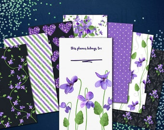 Black/Purple/Green Violets Personal Size Planner Dashboard and Dividers - PRINTABLE - KikkiK, Filofax, Recollections, etc.