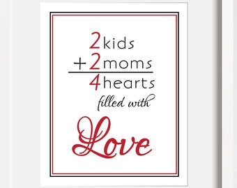 Lesbian Mom Art LGBT Mothers Day Gift Gay Pride Art LGBT Wall Art Lesbian Family Art Lesbian Wall Art Gay Family Lesbian LGBT Birthday Gift