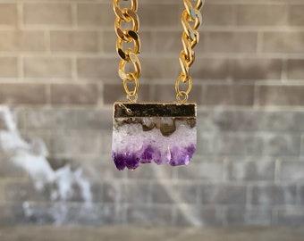 "Amethyst raw stone ""herself's heather"" Outlander inspired necklaces on gold cuban link, native,tribal, minimalist,boho, 3rd eye crown chakra"
