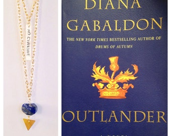 Mo Chridhe hand stamped Outlander inspired lapis lazuli stone necklace on layered gold chain, minimalist