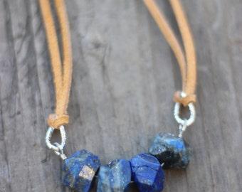 Mo Chridhe Outlander inspired lapis lazuli stone necklace on tan suede/leather & silver chain, minimalist, boho, native