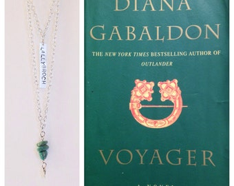 Lallybroch hand stamped Outlander / Voyager inspired, turquoise stone & arrow charm necklace on layered silver chain, m