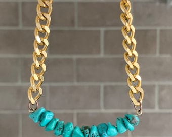 "RARE turquoise stone Outlander inspired necklaces on gold cuban link chain ""aqua carib"",  tribal, minimalist, boho, statement, throat chakra"