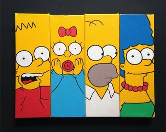 The Simpsons Painting Set- Wall Art Homer, Bart, Lisa, Maggie, Marge and Santa's Little Helper