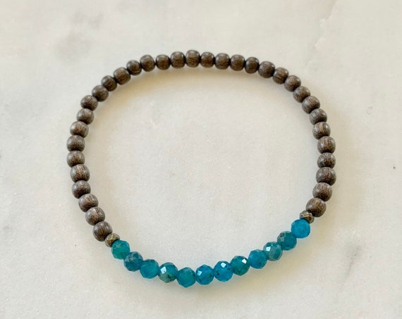 Itty Bitty Faceted APATITE + Pyrite Healing Bracelet w/Gray Wood Beads/ Statement Bracelet/ Healing Bracelet// Throat Chakra// Blue Apatite