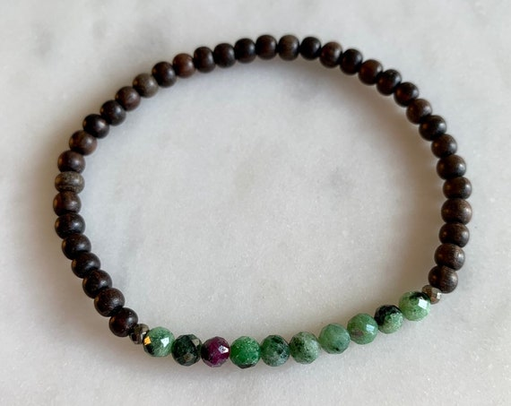 Itty Bitty Faceted ZOISITE + RUBY + Pyrite Healing Bracelet w/ 4mm Tiger Ebony Wood Beads/ Statement Bracelet/ Healing Bracelet