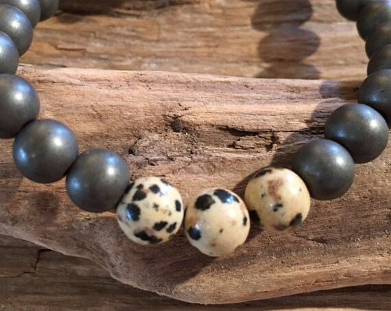 Frosted Hematite Beaded Bracelet with Polished Dalmation JASPER Healing Beads// B.J.B.A.// MEN'S BRACELET//Healing Bracelet//Unisex Bracelet
