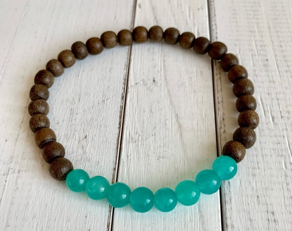 Polished AMAZONITE Healing Beads w/ Gray Wood Beaded Bracelet// B.J.B.A.// MEN'S BRACELET// Healing Bracelet// Unisex// Excellent Quality