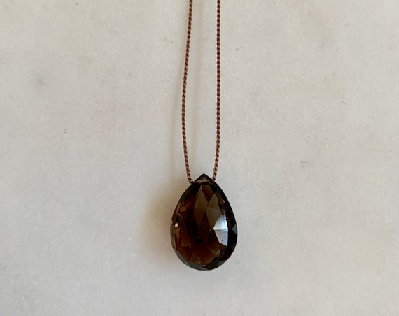 Smokey Quartz GEM DROP Healing NECKLACE w/ Faceted Briolette Bead on Silk Cord w/ Sterling Clasp/ Layering Necklace/ Healing Necklace/ Root