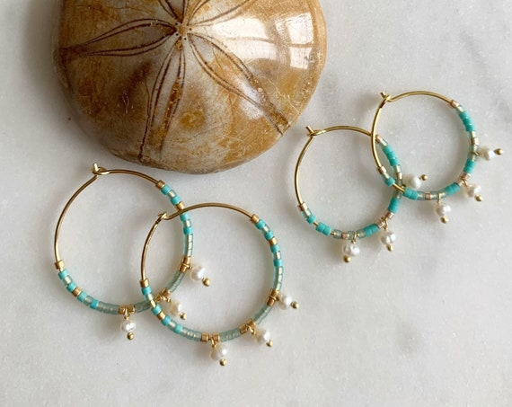 Turquoise + Gold Glass Beaded + Dangle PEARL Gold Vermeil Sterling Silver HOOP Earrings Hoop Earrings/ Trendy Hoops/ Beaded Earrings/ Pearls