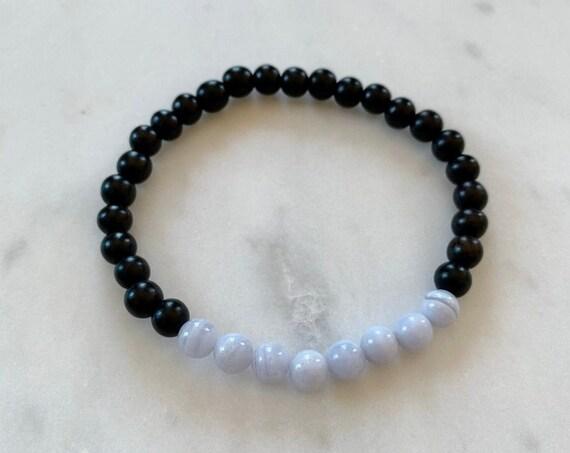 Polished Blue Lace AGATE Healing Bracelet w/Ebony Wood Beads/ B.J.B.A./ MEN'S BRACELETS/ Healing Bracelet/ Unisex Bracelet/ Diffuser Beads