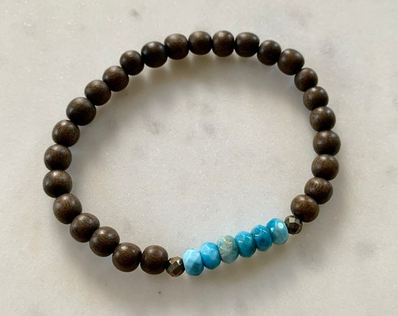 Faceted APATITE Healing Beaded Bracelet w/ Gray Wood Beads/ Statement Bracelet/ Stacking Bracelet/ Healing Bracelet/ Throat Chakra/ Apatite