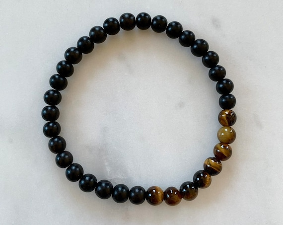 Polished TIGERS EYE Healing Bracelet w/Ebony Wood Beads/ B.J.B.A./ MEN'S Bracelets/ Healing Bracelet/ Unisex Bracelet/ Diffuser Beads