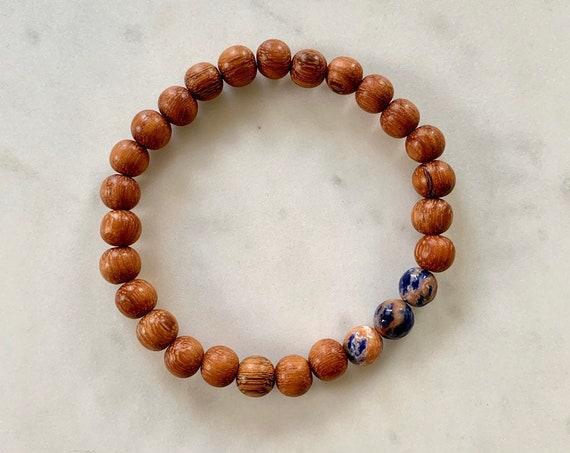 Faceted SODALITE Healing Bracelet w/ Red Wood Beads/ B.J.B.A./ MEN'S Bracelet/ Healing Bracelet/ Unisex Bracelet/ Diffuser Bracelet