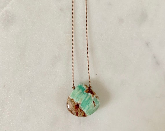 VARISCITE Gem Drop Healing Necklace with polished Drop Bead on Silk Cord// Layering Necklace/ Healing Necklace// Heart Chakra Stone