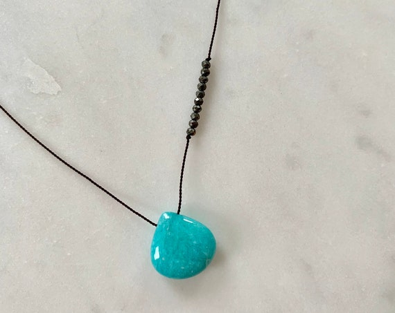 AMAZONITE GEM Drop Healing NECKLACE w/Polished Drop + Pyrite Beads on Silk Cord// Layering Necklace// Healing Necklace// Amazonite//