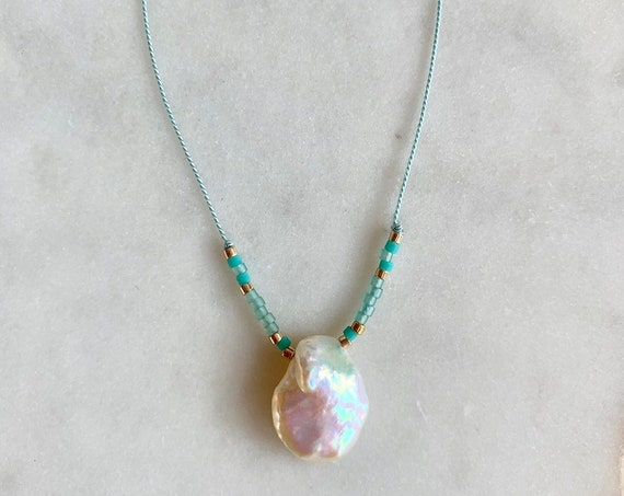 Keshi Pearl GEM DROP Healing NECKLACE w/ Pearl Bead + Colorful Glass Beads on Silk Cord w/ Sterling Clasp// Layering Necklace// Healing