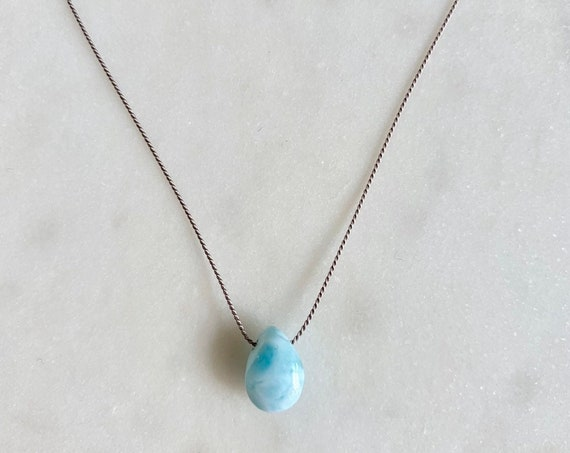 LARIMAR Gem Drop Healing Necklace with polished Briolette Bead on Silk Cord/ Layering Necklace/ Healing Necklace// Goddess Jewelry/ Larimar