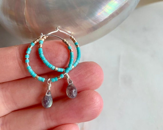 Turquoise + Gold Glass Beaded + Dangle LABRADORITE Sterling Silver HOOP Earrings/ Earrings// Hoop Earrings/ Trendy Hoops// Beaded Earrings