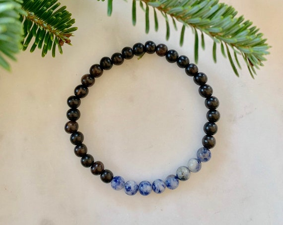 Polished SODALITE Healing Bracelet w/Ebony Wood Beads/ B.J.B.A./ MEN'S BRACELETS// Healing Bracelet// Unisex Bracelet// Diffuser Bracelet