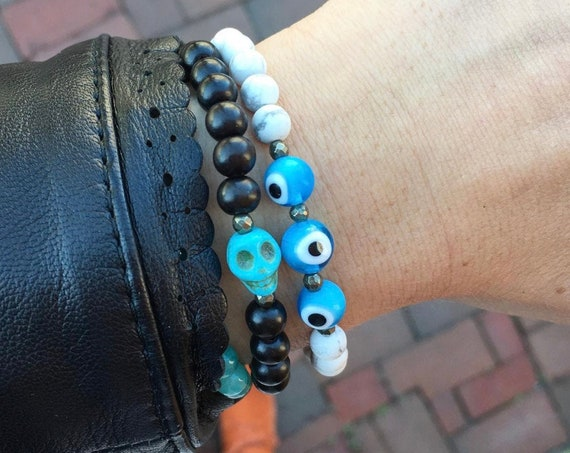 Blue HOWLITE SKULL + Pyrite Healing Bracelet w/Wood Beads// or // EVIL Eye + Pyrite w/Frosted White Howlite Healing Beads// October Style