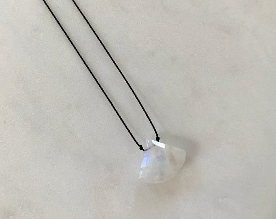 Rainbow Moonstone GEM DROP Healing NECKLACE on Silk Cord// Layering Necklace/ Healing Necklace// June Birthstone Jewelry/ Rainbow Moonstone