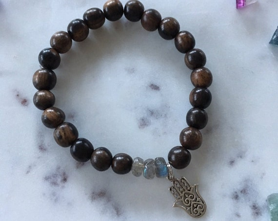 Tiger Ebony Wood Beaded Bracelet with Faceted LABRADORITE Healing Beads and Sterling Silver HAMSA HAND Charm// Stacking Statement Bracelet//