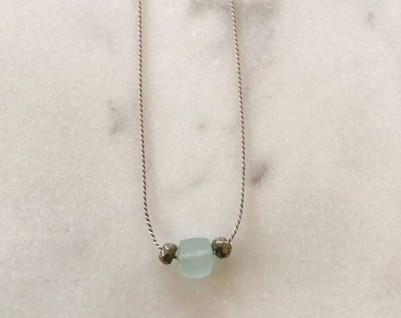 Aquamarine and Pyrite GEM DROP Healing NECKLACE with Faceted Beads on Silk Cord// Layering Necklace// Healing Necklace// March Birthstone
